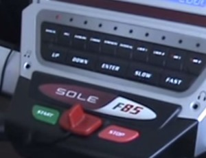 The Sole F85 Treadmill Controls (Start, Stop, Safety Switch).